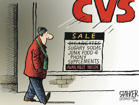 Jeff Stahler on CVS end to cigarette sales irony