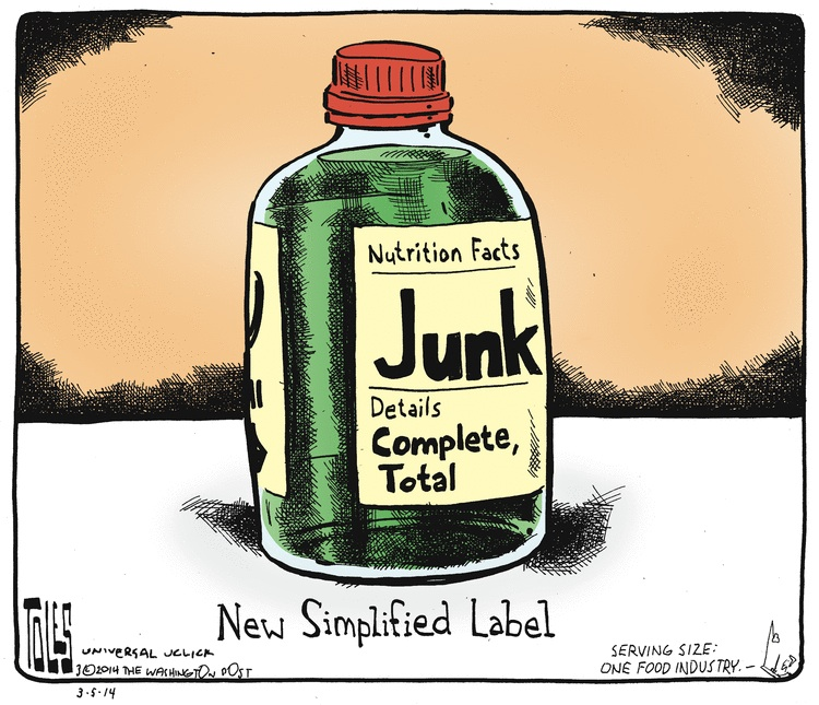 Toles on new simplified food labels 3-18-14