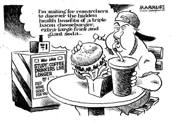 Jimmy Margulies Nutrition Cartoon - coffee drinkers live longer 5/18/12