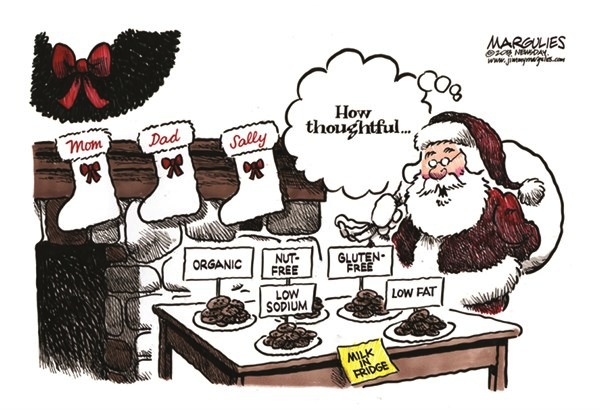 Jimmy Margulies Nutrition Cartoon - cooking for healthy santa 12/23/13